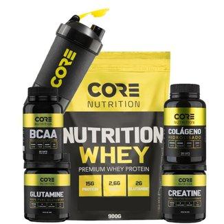 Nutrition Whey + BCAA + Crea + Gluta + Colágeno + Shaker Core Nutrition