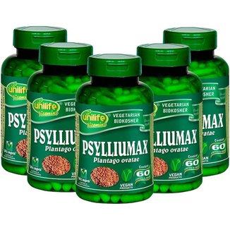 Psylliumax Psyllium Unilife Emagrecimento 60 cápsulas 550mg Kit com 5