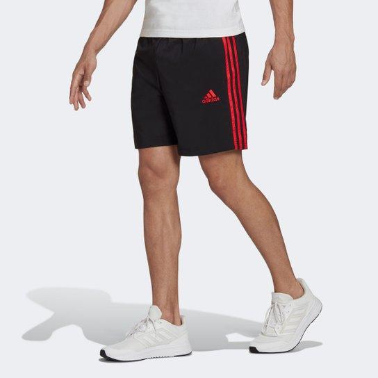 Short Adidas Essentials Chelsea Masculino - Preto+Vermelho