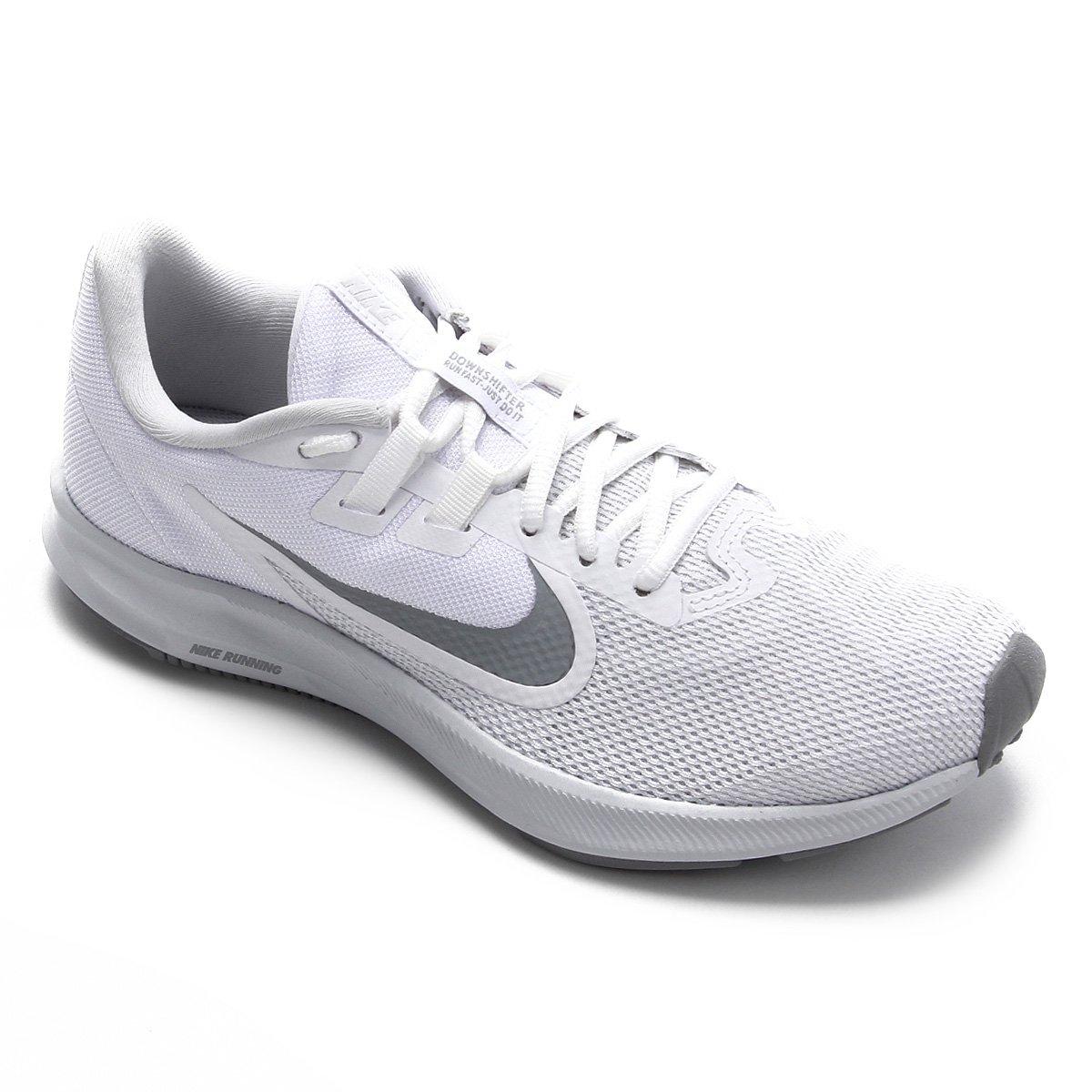 Tênis Nike Downshifter 9 Feminino Branco e Cinza